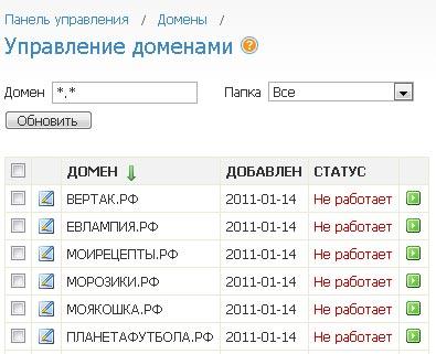 Паркинг доменов РФ на nic.ru