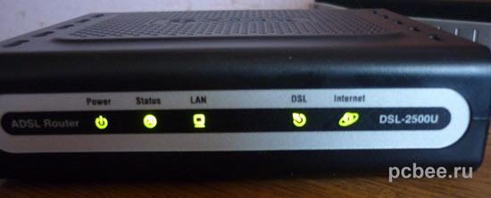 Индикатор модема ADSL Internet должен гореть зеленым цветом, а не красным