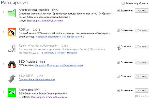 Расширения браузера Яндекс.Интернет  для веб-мастеров
