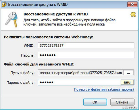 Заполняем все необходимы реквизиты пользователя WebMoney и указываем путь к файлу ключей (файл с расширением kwm).