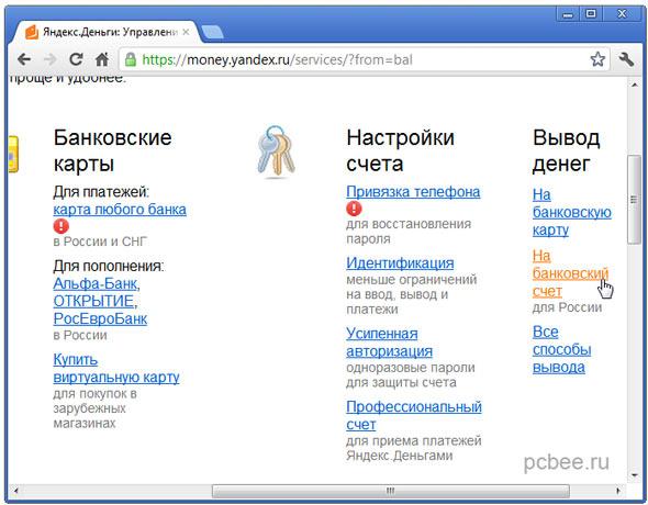 Как вывести Яндекс деньги на карту Сбербанка