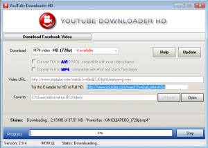 Пример заполнения полей в программе youtube downloander hd