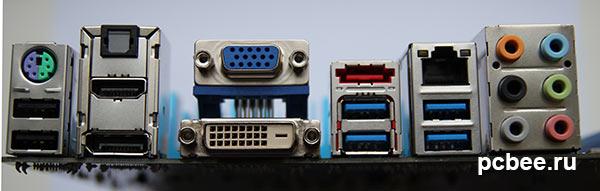 На интерфейсной панели материнской платы ASUS P8Z77-V LE размещено большое количество различных портов