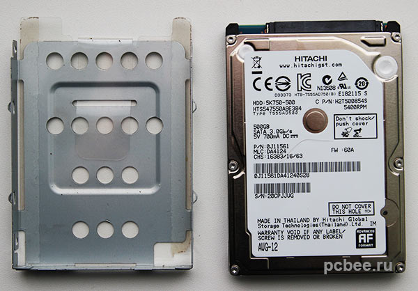 Перед установкой новый жесткий диск необходимо поместить в металлическую рамку