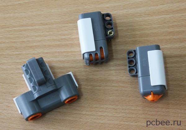 Датчики Lego (слева на право): ультразвуковой, звуковой и касания.