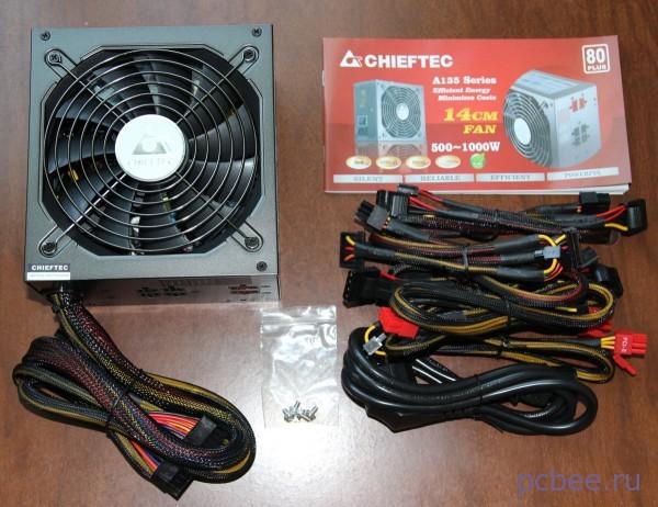 Комплектация БП Chiftec: отстегивающиеся кабели, инструкция, крепёж