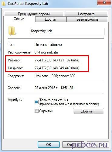 Объём папки Kaspersky Lab 77 Гб