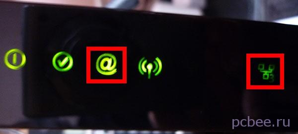 """Значок """"собака"""" стал зелёным - Интернет заработал! Обратите внимание на значок подключения к Ethernet-порту - около него светиться цифра """"3"""", говорящая о том, что кабель подключен к LAN3"""