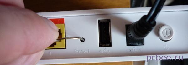 Для сброса настроек роутера Sagemcom к заводским, нажмите кнопку Reset и удерживайте её в нажатом состоянии 10 секунд
