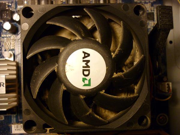 Радиатор процессора забит пылью