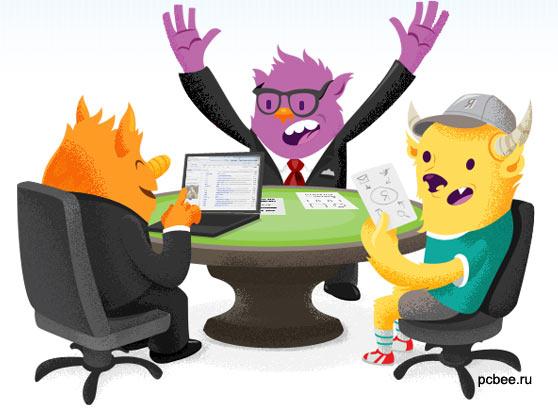 """Рекламная картинка браузера Firefox 8 - """"Лиса в офисе"""". Firefox 8 скачать бесплатно"""