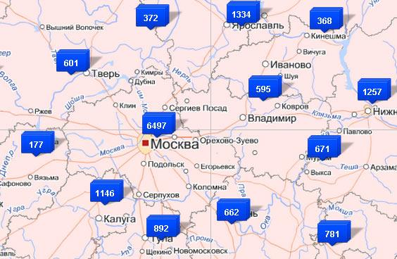 Числа,  на синих ярлыках указывают  количество избирательных участков в регионе