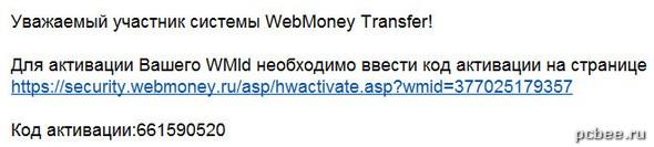 Код активации кошелька WebMoney пришел на e-mail