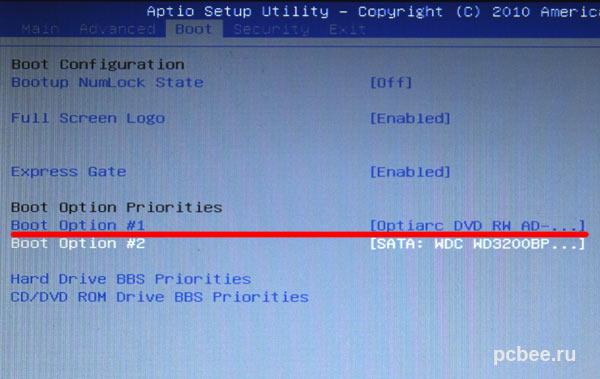 Установка в BIOS загрузки с компакт-диска