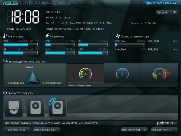 Графический интерфейс BIOS