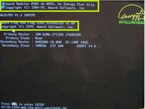 Версию BIOS можно увидеть при перезагрузке