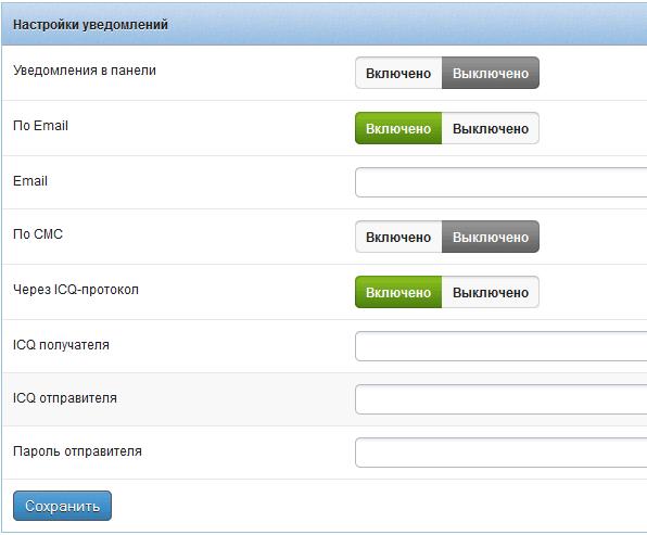 Настройка уведомлений  Panelwm.net