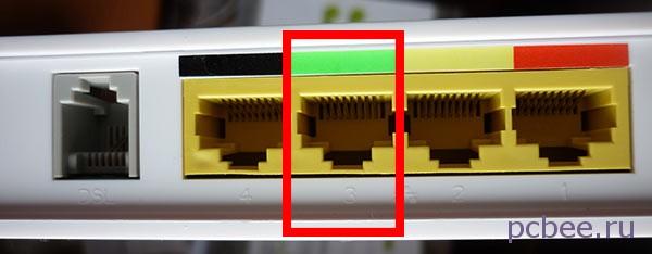 При настройке роутера сетевой кабель необходимо подключать к разъему LAN3 - на роутере Sagemcom 2804 v7 rev 1 он помечен зелёным цветом
