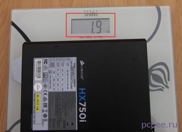 Ориентировочный вес Corsair HX750i 750W - 1,9 кг