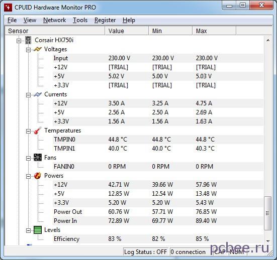 Программа HWMonitor отображает все основные параметры Corsair HX750i: выходные напряжения, скорость вращения вентилятора, КПД и т.д.