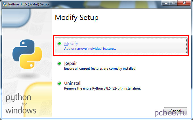 Повторно запускаем установку Python и выбираем вариант Modify