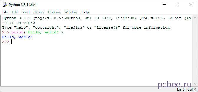 Синим цветом отображается результат работы программы. У вас все получилось? Поздравляем, вы написали первую программу на языке Python!