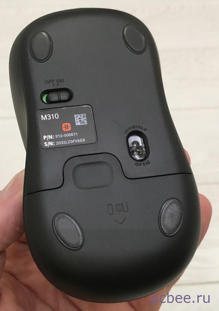 Мышь для ноутбука Logitech M310 - вид снизу