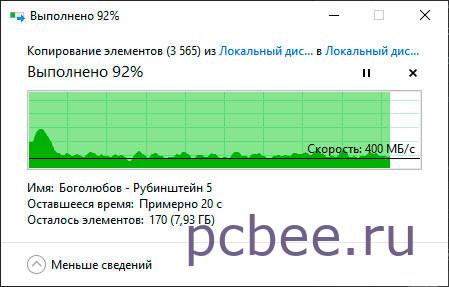 Ориентировочно средняя скорость записи около 450 МБ/с